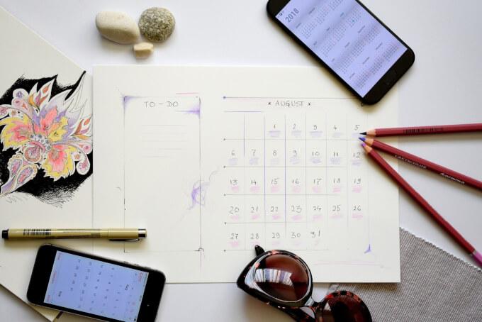 手書きのカレンダー